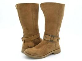 Ugg Womens 7 Braiden Brown Suede Mid Calf Side Zipper Shearling Boots EU... - $72.99