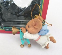 Lustre Fame Christmas Mouse Angel with Trumpet Ornament 1992 Vintage - $9.75