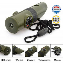 7 in 1 Military Emergency Survival Whistle Kit Compass LED Light Thermom... - $9.99