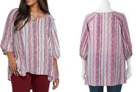 Living Doll Women's Plus Size Woven Print Cross Front Top, Purple Stripe... - $19.00