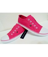NWT Tommy Hilfiger Girls  Laceless Sneakers Bright Pink Canvas Size 2  US - $15.00