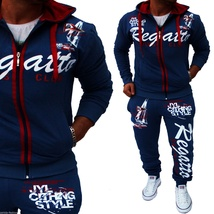 Men Sport Tracksuit Casual Letter Printed Hoodie Coat Leisure Trousers for Male  image 7