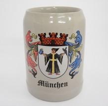 Munchen Beer Mug .5 Liters GERZ Stoneware Made West Germany Crest - $21.77