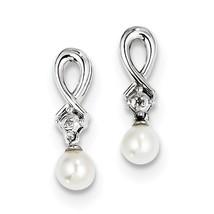 Sterling Silver Rhodium-plated FWC Pearl & Diamond Dangle Earrings QE102... - $38.07