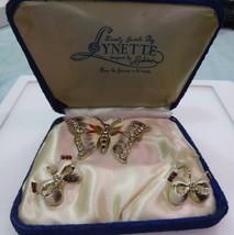 Lovely Vintage Butterfly & Bows Jewelry Set In Blue Velvet Presentation Box - by - $19.99