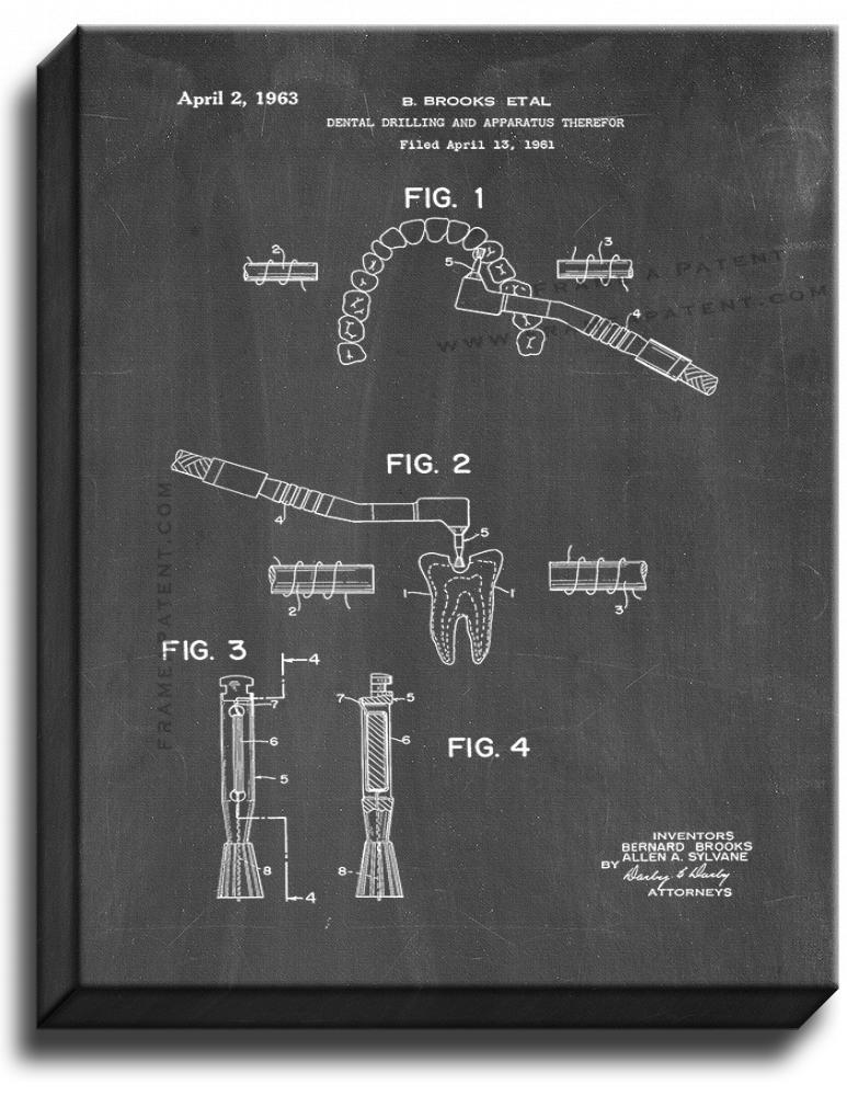 Primary image for Dental Drill Patent Print Chalkboard on Canvas