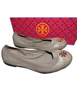 Tory Burch Jolie Ballerina Flats Gray Logo Minnie Reva Leather Ballet Sh... - $139.00