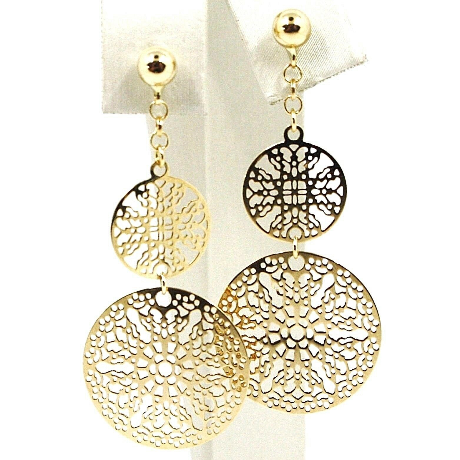 Drop Earrings Yellow Gold 750 18k, 2 Discs Cut-Out, Pattern Floral