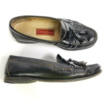 Cole Haan Tassel Loafers Black Leather Formal Slip On Dress Shoes Mens 8... - $13.98