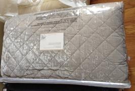 Pottery Barn Nia Velvet Quilt Set Gray Queen 2 Standard Shams Diamond 3pc - $289.00