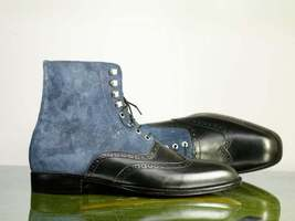 Handmade Black Leather & Blue Suede High Ankle Lace Up Wing Tip Boots For Men image 5