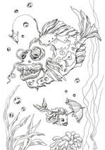 "Akimova: FISH, ink, black&white, animal, 5.5""x 8"", sea - $9.00"