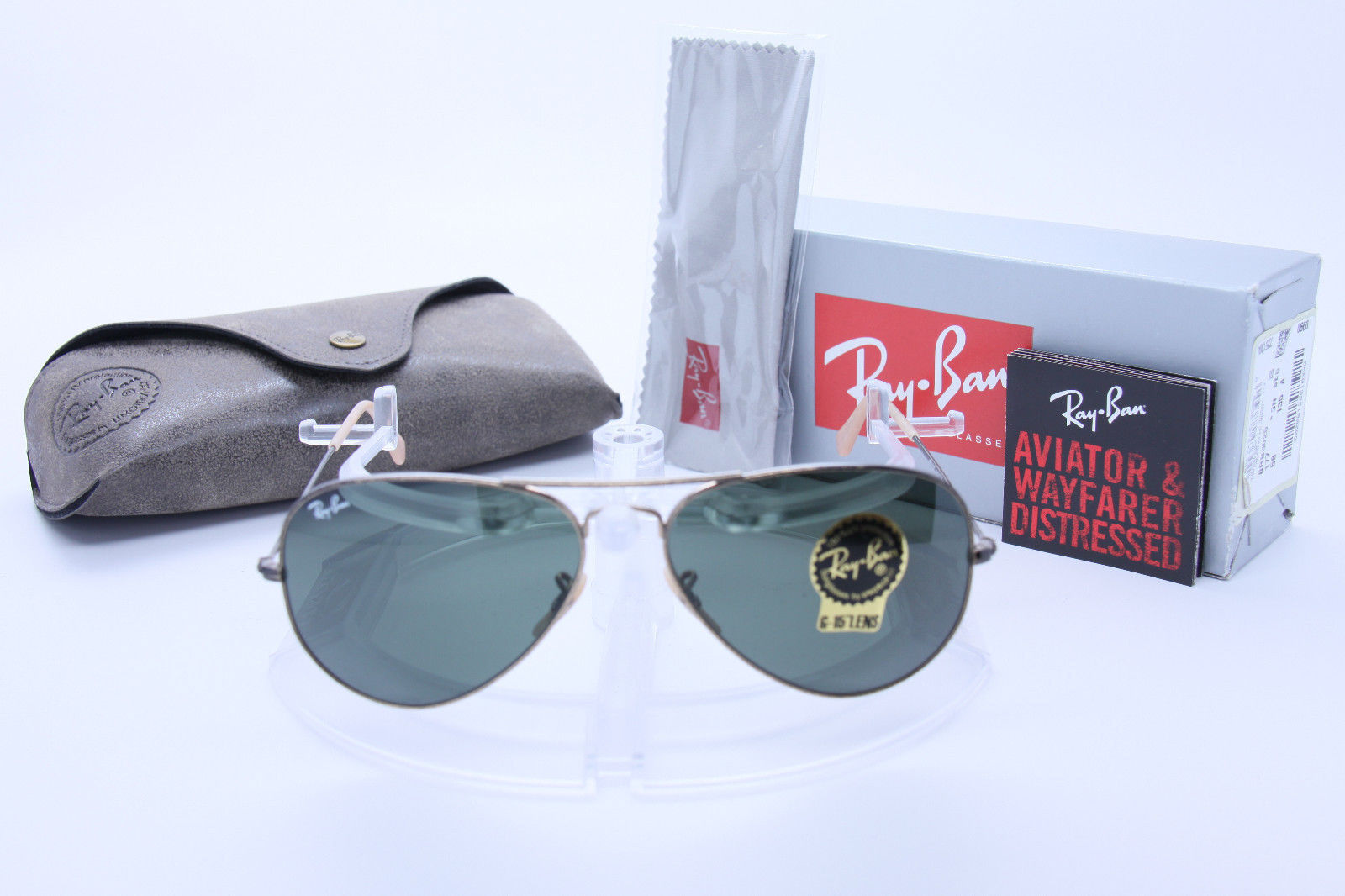 New Ray Ban Aviator RB3025 177 58mm ANTIQUE Gold  w/G-15 Green image 4