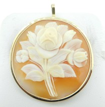 14k Gold Round Genuine Natural Shell Cameo Pin / Pendant with Roses (#J4... - $325.00