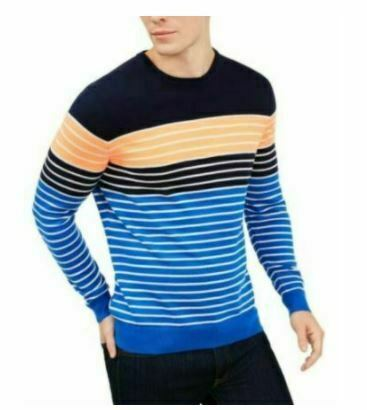 Club Room Men's Sweater Orange Blue Size L Striped Color Block Crewneck