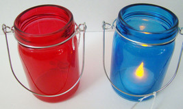 Home Decor ~ 2 Glass Hanging Mason Jar Candle Holders ~ NEW ~ Red & Blue - $5.77