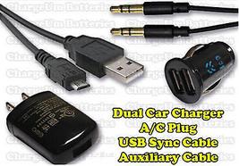 Samsung Galaxy S4 i337 Auxiliary Cable + AC Plug + USB Cord + Dual Car C... - $13.46