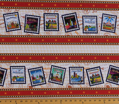U.S. Postage Stamps Texas Cities (4 Parallel Stripes) Cotton Fabric BTY ... - $5.97