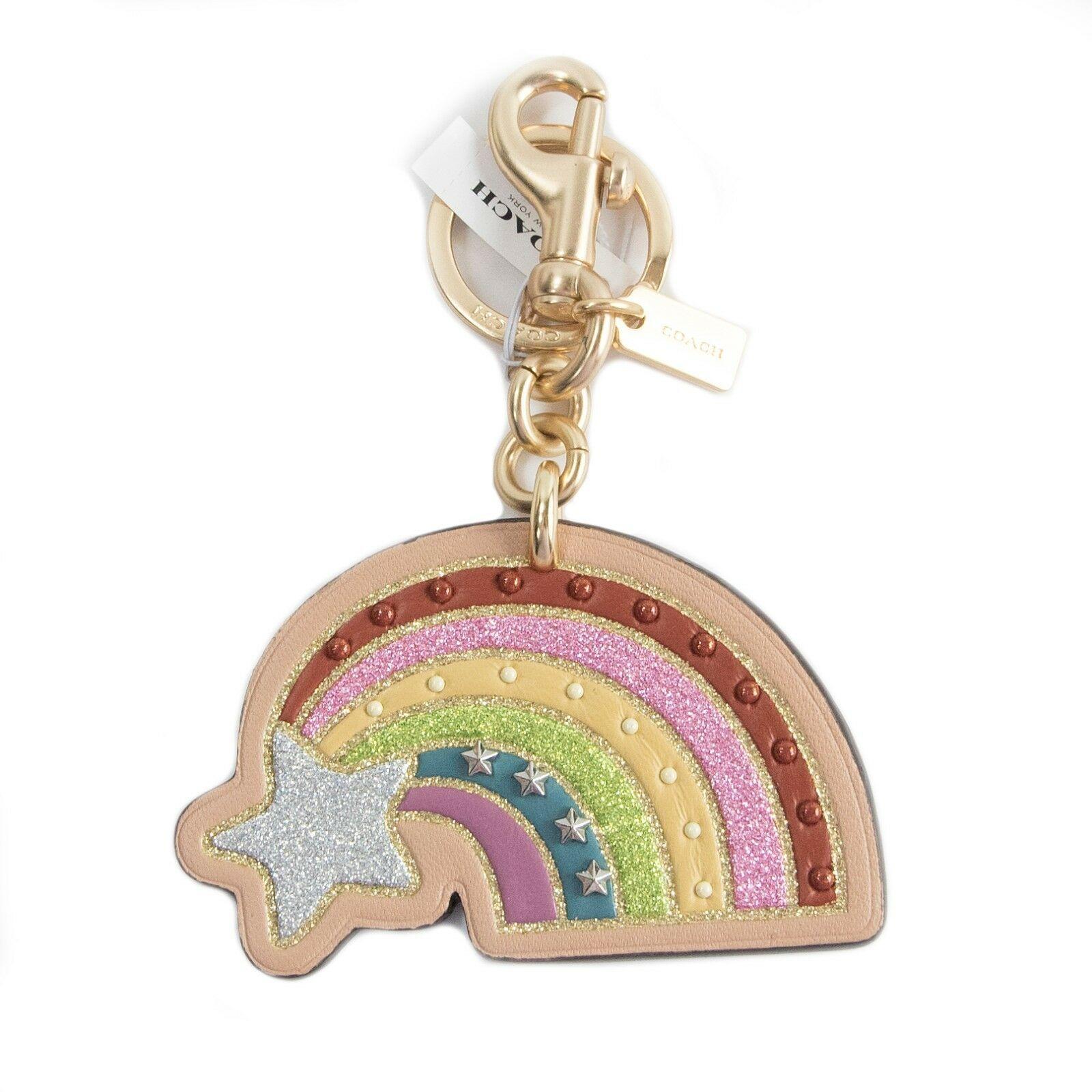 Coach NASA Shooting Star Rainbow Studded Leather Bag Charm Key Chain 27651 NWT