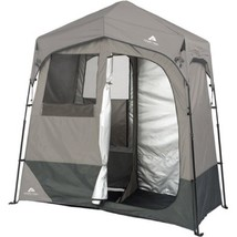 Instant Utility Shelter 2 Room Dark Grey Camping Tent 5 Gal Solar Heated... - $154.43