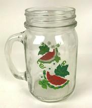 Vtg Anchor Hocking Glass Golden Harvest Watermelon 16 oz Mason Jar with ... - $21.73