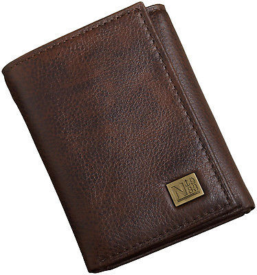 Nautica Men's Leather Trifold Credit Card ID Holder Wallet Brown 31NU11X024