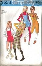 Vintage 1971 Simplicity #9533 - Girl's Knickers & Shorts W/Bib Sz 8 - $10.99
