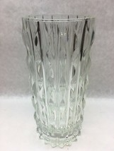 Glass crystal Vase 9 in  Hollywood Regency Wave Cut MCM Mid Century - $19.79