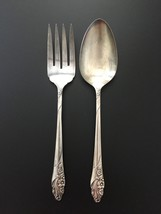 Oneida Community Evening Star 1950 Silverplate Cold Meat Serving Fork & Spoon - $19.95