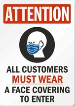 MUST WEAR MASK (TIN SIGN) FACE COVERING ENTERING BUSINESSES - $21.77