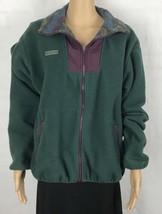 VTG Columbia Fleece Jacket Green Purple Multi Color Trim Zip Front Men's... - $34.65