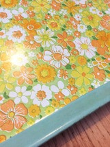 Vintage 70s CATER melamine cafeteria/serving tray with vinyl floral inlay image 2