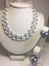 Vintage Triple Strand Milk Glass Aurora Borealis Bead Necklace Clip Earr... - $35.72