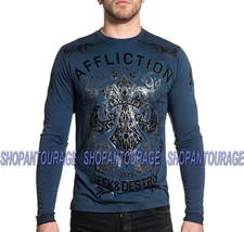 AFFLICTION Signify A15786 Brand New Men`s Long Sleeve 50/50 Blue T-shirt - $56.43