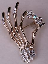 Skeleton Hand Bow Brooch Pin Austrian Crystal Women Biker Jewelry Gifts - $9.99