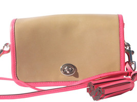 NWT COACH F22406 SAND /WATERMELON LEGACY ARCHIVAL LEATHER SHOULDER/CROSS... - $130.99