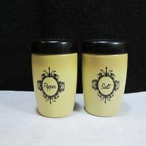 Vintage West Bent Aluminum Salt Pepper Shakers Harvest Gold Screw Top - £10.68 GBP