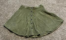 H&M Green Corduroy Front Button Skirt Size Medium - $11.27