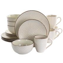 Elama Honey Ivory 16 Piece Stoneware Dinnerware Set in Ivory - $101.78
