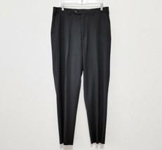 Izod Mens Dress Pants Size 34x32 (Actual 34x31 1/2) Black Pinstripe Flat Front  - $21.80