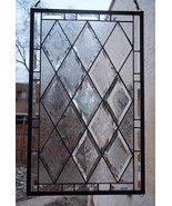 Stained Glass Window, Antique Beveled Restored with glue chipped bevels - $139.00