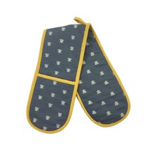 BEE SILHOUETTES GREY YELLOW WHITE COTTON DOUBLE OVEN GLOVES - $17.48