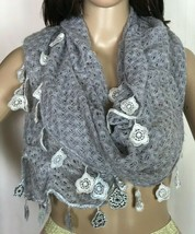 Charming Charlie Infinity Scarf with Floral Accent Trim - $14.12