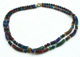 Multi-Color Acrylic Faux Marbled Stone Bead Beaded Dual Strand Necklace - $19.79