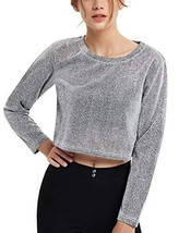 Perfashion Women's See Through Metallic Crop Shirt Long Sleeve Cropped B... - $18.41