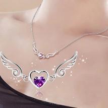 USA Silver Plated Angel Wing & Heart Charm Crystal Rhinestone Pendant Ne... - $9.89