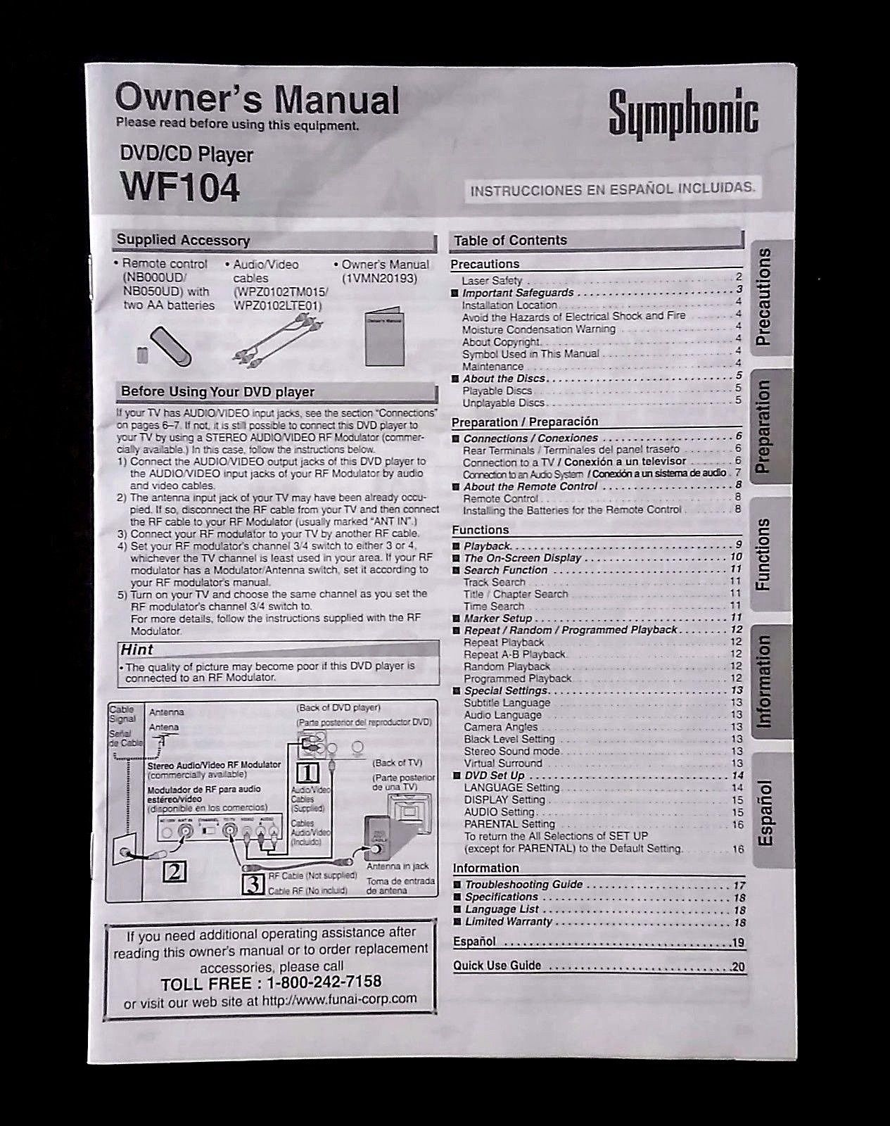 Symphonic WF104 DVD/CD Owner's Manual Only and 50 similar items