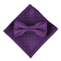 Men Polka Dot Bowtie Necktie Pocket Square Dark Purple Business Wedding Party ci - $15.97