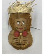 Vintage Coconut Primitive  Monkey W/ Glasses Straw Hat Hand Carved Tiki ... - $21.77