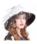 VECRY Women's Dressy Church Baptism Wedding Derby Hat Mesh-Black/White - $24.83